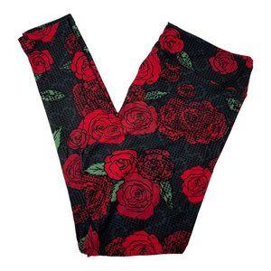 LuLaRoe Black with Red Roses Cross Stitch Leggings